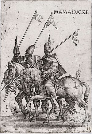 Mamluk - Mamluk lancers, early 16th century (etching by Daniel Hopfer)