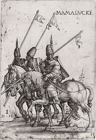 Mamluk Sultanate (Cairo) - Mamluk lancers, early 16th century (etching by Daniel Hopfer)