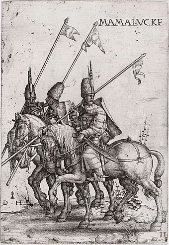 Mamluk lancers, early 16th century (etching by Daniel Hopfer) Three Mamelukes with lances on horseback.jpg