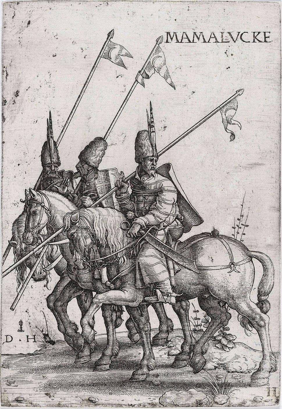 Three Mamelukes with lances on horseback