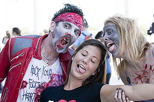 Michael Jackson's Thriller (music video) - Participants of the 2008 Thrill the World event in Austin, Texas.