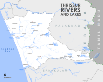 Rivers and Lakes in Thrissur District Thrissur Rivers and Lakes Map.png