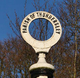 Thundersley - Image: Thundersley Old Road Sign Top