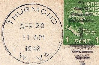 Thurmond, West Virginia - Image: Thurmond WV postmark