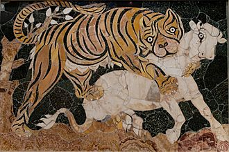 Opus sectile - Tigress attacking a calf, marble opus sectile  (325–350 AD) from the Basilica of Junius Bassus on the Esquiline Hill, Rome