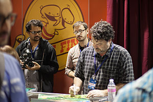 Double Fine Productions - Tim Schafer and Drew Skillman with 2 Player Productions' Asif Siddiky at PAX Prime 2012