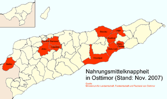 Foreign aid to East Timor - Subdistricts suffering from hunger in November 2007.
