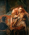 Tobias curing the blindness of Tobit, with Anna. Oil paintin Wellcome V0017378.jpg
