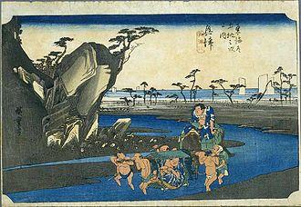 Okitsu-juku - Okitsu-juku in the 1830s, as depicted by Hiroshige in The Fifty-three Stations of the Tōkaidō