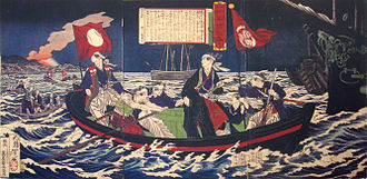 Fall of Osaka Castle - Tokugawa Yoshinobu leaving for Edo, looking at the fire at Osaka castle in the background.