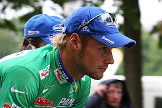 Tom Boonen - Boonen wearing the Green Jersey at the 2005 Tour de France