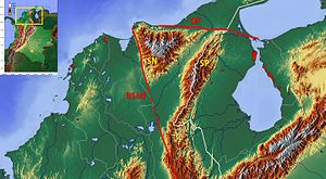 Bucaramanga-Santa Marta Fault - Image: Topographic Map of the Cesar Ranchería Basin Colombia
