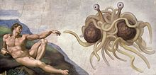"Oil painting in the style of ""The Creation of Adam"" by Michelangelo (which shows Adam reclining and reaching out to touch God), but instead of God there is the Flying Spaghetti Monster; two large meatballs wrapped in noodles, with eyes on stalks which are also noodles, all floating in mid-air."
