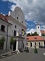 Town Hall and St. John the Baptist Catholic parish church (at back). Listed ID 7402 and ID 7400 - 3, Városháza Square, Szentendre, Hungary.JPG