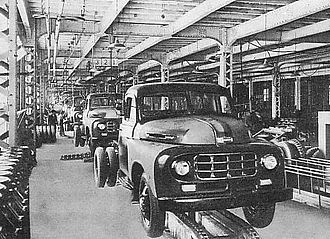 Mass production at a Toyota plant in the 1950s Toyota Motor Plant in 1950s.JPG
