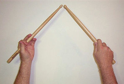 A pair of drumsticks held in traditional grip. Traditional Grip.jpg