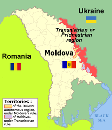 Map of Moldova, Transnistria, and the surrounding region