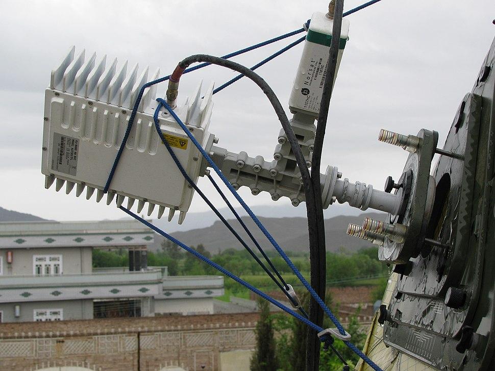 Transponder on an Afghan satellite dish