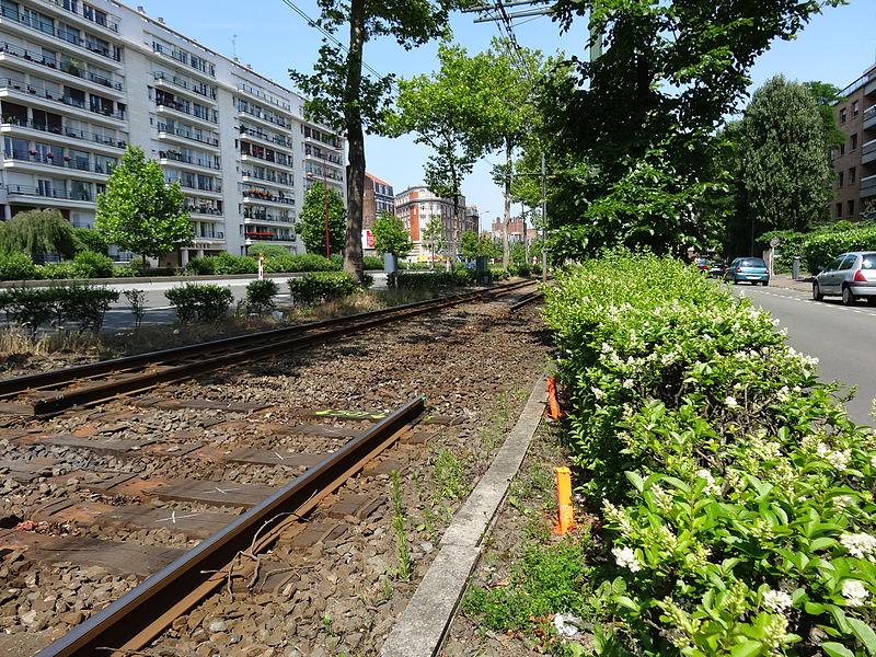 Travaux sur les lignes R et T du tramway de Lille - Roubaix - Tourcoing le 7 juillet 2013.
