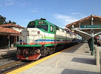 EMD F40PH - Tri-Rail M-K F40PHL-2 No. 803 at Hollywood station in 2013
