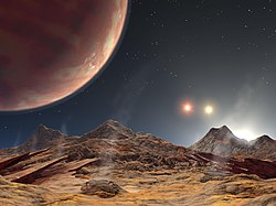 Artist's impression of the sight from a (hypothetical) moon of planet HD 188753 Ab (upper left), which orbits a triple star system. The brightest companion is just below the horizon.