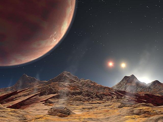 Impresión de un artista acerca de la vista (hipotética) de una luna del planeta HD 188753 Ab (Arriba a la Izquierda), que orbita un sistema de tres estrellas.