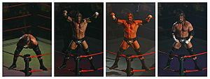 Professional wrestling in Australia - Sequence showing Triple H performing his ring entrance pose at the Rod Laver Arena in Melbourne during the November 2007 WWE tour