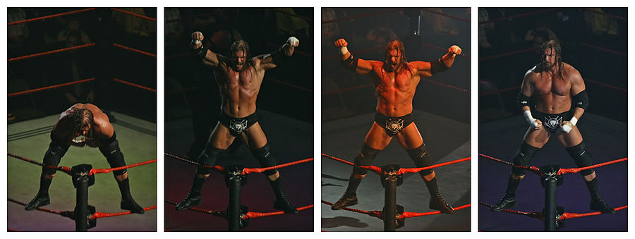 Triple H performing his ring entrance pose, mounting the second rope and displaying his physique, under strobe lights Triple H Entrance Sequence Melbourne 10.11.2007.jpg