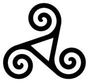 One form of decorative spiral triskelion