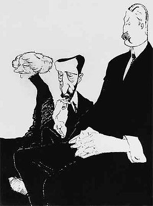 Zinaida Gippius - Gippius, Merezhkovsky and Filosofov. Caricature by Re-Mi (Nikolai Remizov)