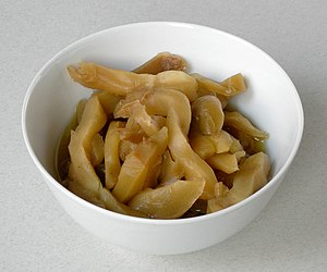 Zha cai - Zha cai cut into thick strips for cooking