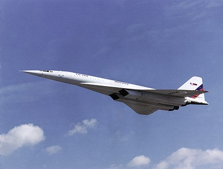 Tu-144, the world's first commercial supersonic transport aircraft (SST) Tu-144LL in flight.jpg