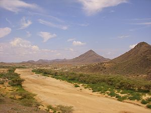 Turkwel River - Dry riverbed of the Turkwel river.  Photo taken just outside Lodwar Town. Lodwar is in Turkana County, Kenya
