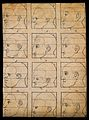 Twelve human profiles in outline, sectioned to show their di Wellcome V0009224EL.jpg