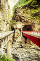 Two bridges extend from the marble cliffs of Taroko gorge (11008057926).jpg