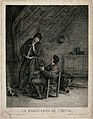 Two men in an attic, smoking and drinking; representing past Wellcome V0047981.jpg