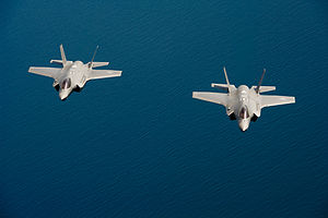 U.S. Air Force F-35A Lightning II aircraft assigned to the 58th Fighter Squadron, 33rd Fighter Wing fly in formation over the northwest coast of Florida May 16, 2013 130516-F-XL333-668.jpg