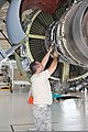 U.S. Air Force Staff Sgt. Lee Ritter, with the 191st Maintenance Squadron, Michigan Air National Guard, performs maintenance on a KC-135 Stratotanker aircraft engine during a phase inspection at Selfridge Air 120811-F-VA676-167.jpg