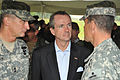 U.S. Ambassador to Germany, Philip D. Murphy (center) talks to Brig. Gen. Steven L. Salazar (right), Commanding General of the 7th Army Joint Multinational Training Command and Maj. Gen. Robert B. Brown (left) 100824-A-BS310-009.jpg