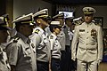 U.S. Coast Guard Capt. Anthony S. Lloyd, right, commanding officer of the Coast Guard Incident Management Assistance Team (CG-IMAT), inspects his crew during a ceremony at Coast Guard Base Portsmouth 130801-G-RT555-625.jpg