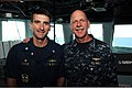 U.S. Navy Vice Adm. Scott H. Swift, right, the commander of the U.S. 7th Fleet, and Cmdr. Justin Orlich, the commanding officer of the guided missile destroyer USS Chung-Hoon (DDG 93), pose for a photo aboard 130529-N-GR655-022.jpg