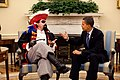 "U.S. President Barack Obama ""meets"" with speechwriter Cody Keenan, who dressed as a pirate for an Oval Office photo taken for use in the President's humorous speech to the White House Correspondents Association dinner May 9, 2009.jpg"