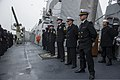 U.S. Sailors aboard the guided missile destroyer USS Truxtun (DDG 103) prepare to pull into Constanța, Romania, March 8, 2014 140308-N-EI510-274.jpg
