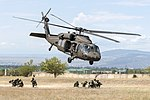 UH-60 Black Hawk lifts off rapidly after inserting Georgian special forces during an urban operations exercise at the Vaziani Training Area.jpg