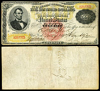 $500 Gold Certificate, Series 1870, Fr.1166i, depicting Abraham Lincoln