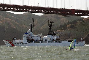 USCGC Morgenthau (WHEC-722) - Morgenthau in May 2007 sailing out to sea under the Golden Gate Bridge