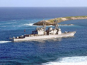 USS Cushing (DD-985) - USS Cushing enters Guam's Apra Harbor in October 2001.