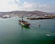 USS Lexington (AVT-16) leaving Guantanamo Bay c1991