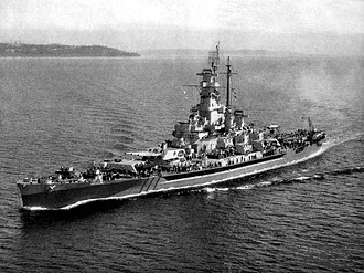 USS Massachusetts (BB-59) - USS Massachusetts (BB-59) underway off the coast of Point Wilson, 1944