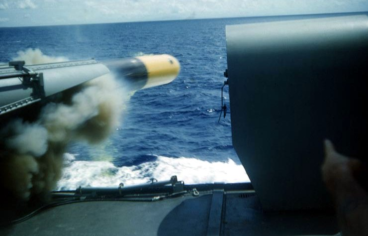 USS O%27Brien (DD-725) firing a Mark 15 torpedo c1953